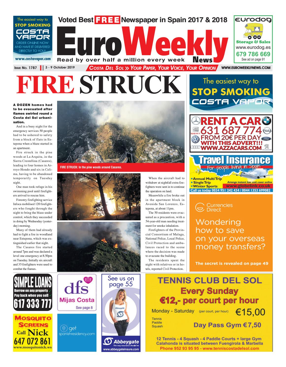 Euro Weekly News Costa Del Sol 3 9 October 2019 Issue 1787 By Euro Weekly News Media S A Issuu
