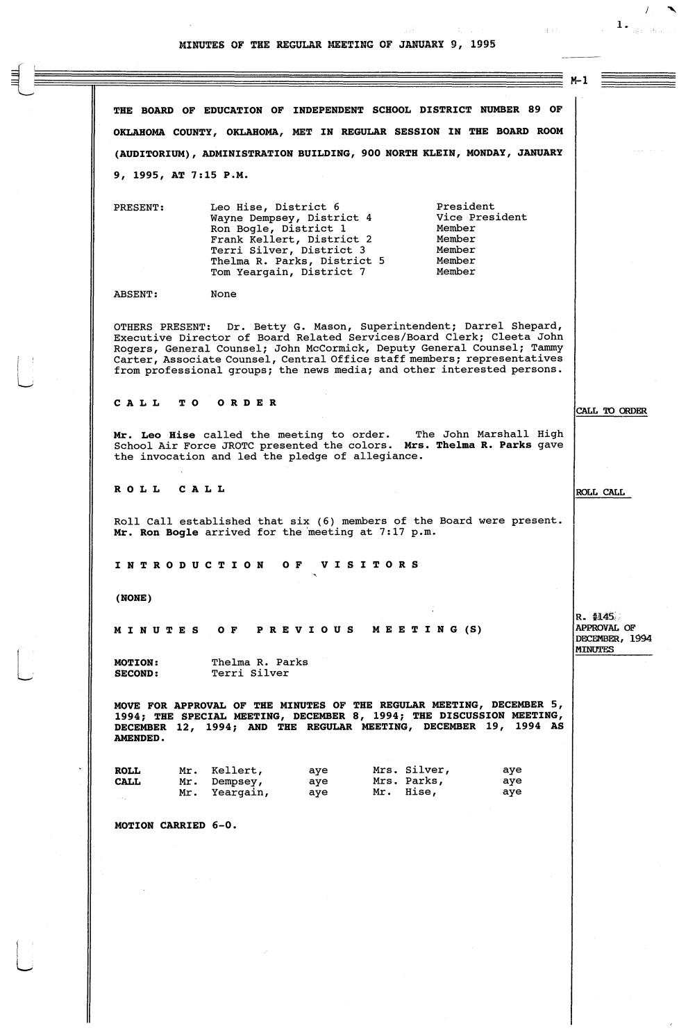 Oklahoma City Public Schools Board Meeting Minutes 1995 By Metropolitan Library System Oklahoma Issuu