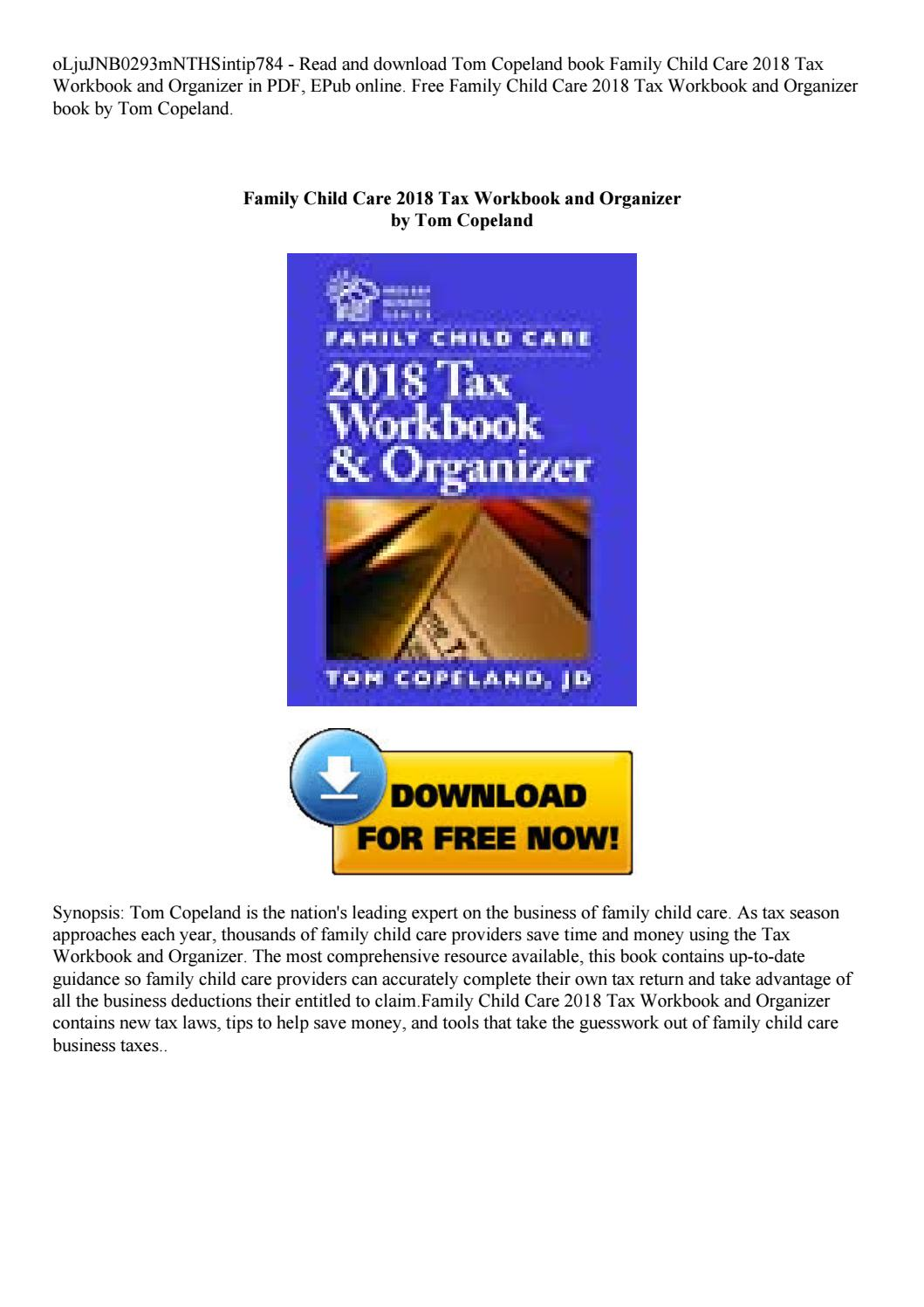 Family Child Care 2018 Tax Workbook And Organizer By Rotipisang27 - Online Tax Organizer