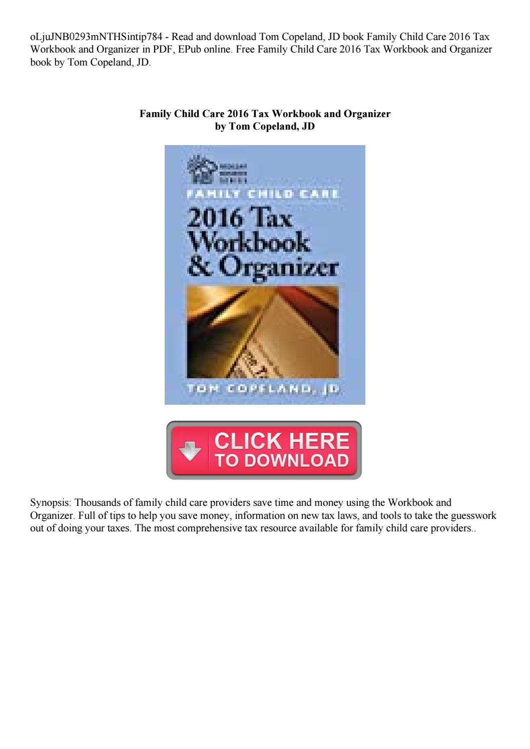 Family Child Care 2016 Tax Workbook And Organizer By Rotipisang27 - Online Tax Organizer