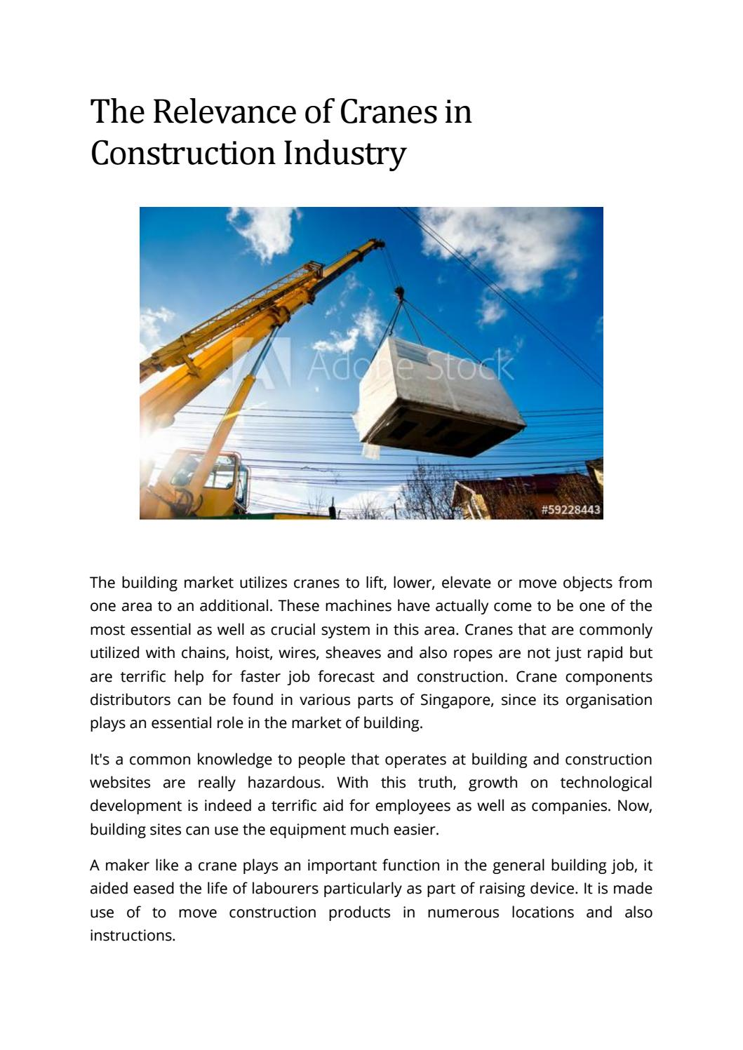 The Relevance Of Cranes In Construction Industry By Legasy Issuu