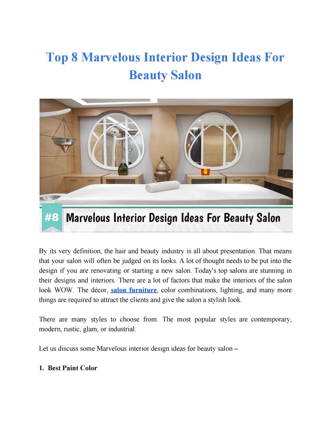 Top 8 Marvelous Interior Design Ideas For Beauty Salon By Paulmatthes Issuu