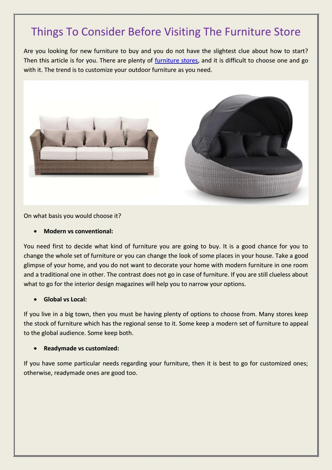 Things To Consider Before Visiting The Furniture Store By United House Furniture Issuu