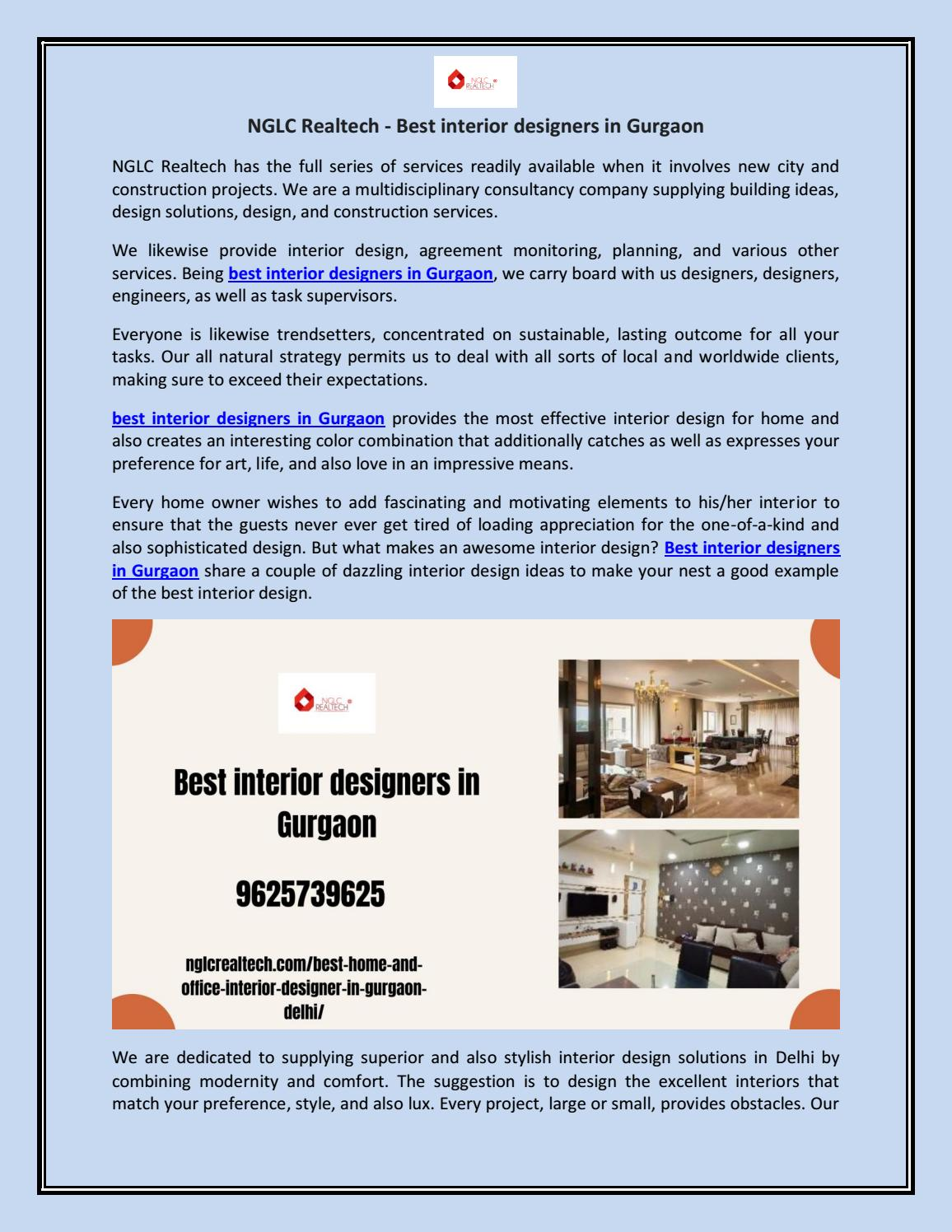 Best Interior Designers In Gurgaon By Nglc Realtech Issuu