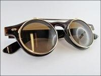 Steampunk Sonnenbrille braun mit klappbaren Glsern ...