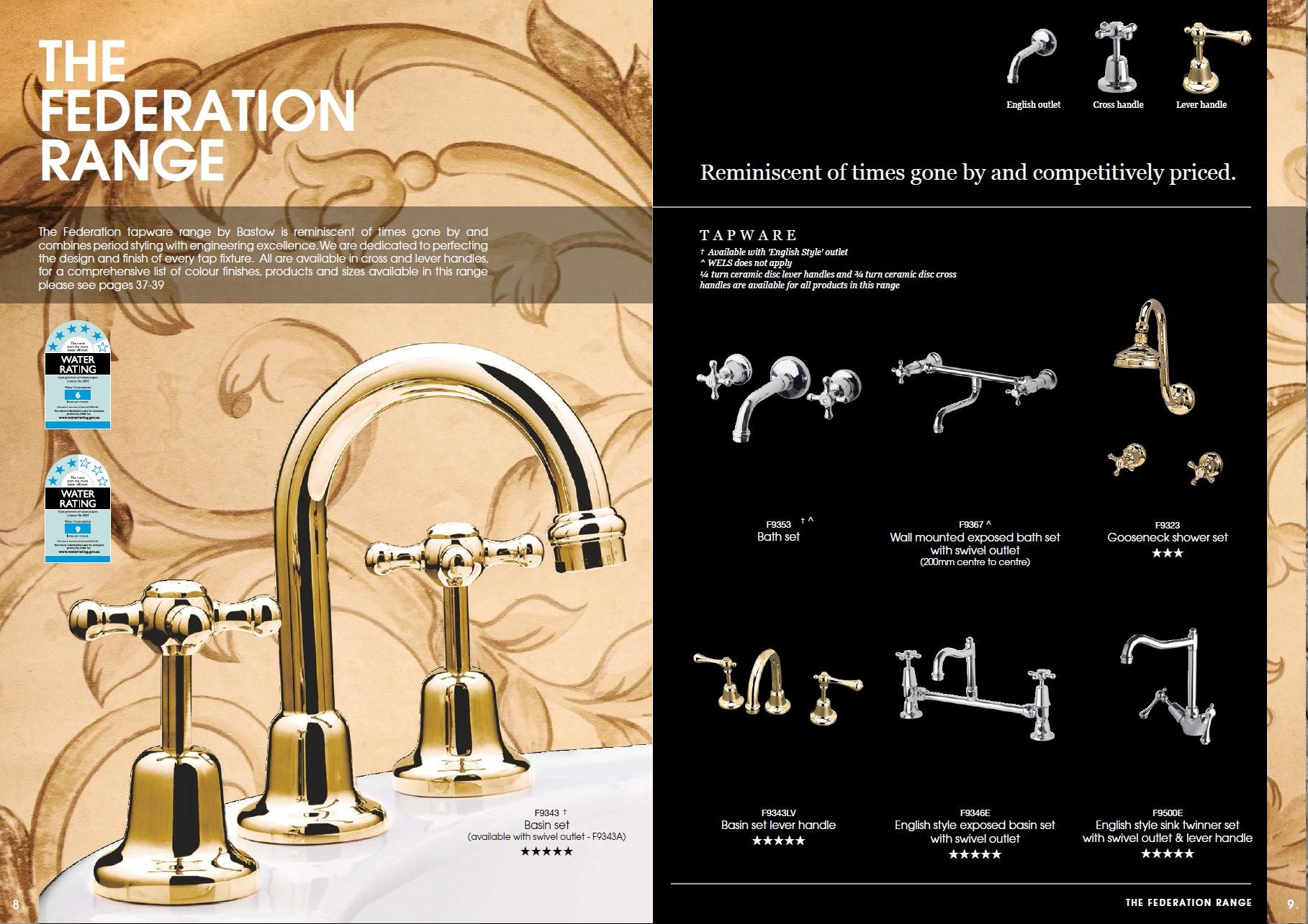 Traditional Taps Australia Bastow Period Federation Tapware Including Exposed Set English
