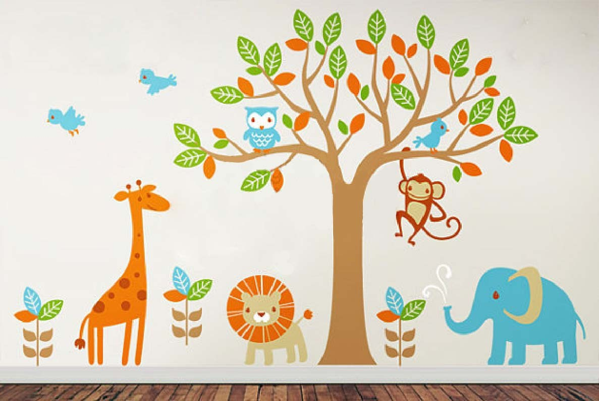 Baby Girl Nursery Removable Wallpaper 6 Safari Playland Leafy Dreams Nursery Decals Removable