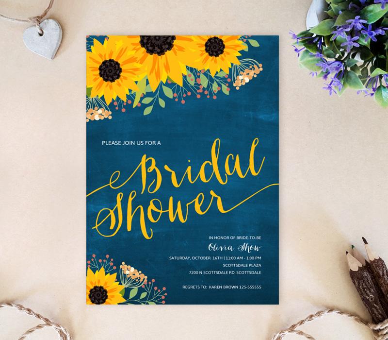 Sunflower Bridal Shower Invites - LemonWedding