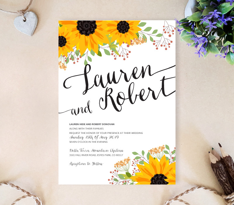 Sunflower Wedding Invitation - LemonWedding - rustic wedding invitation