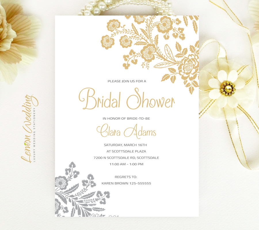 Elegant Bridal Shower Invitations - LemonWedding