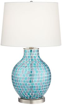 Teal Blue Glass Mosaic Jar Table Lamp - #2T937 | www ...