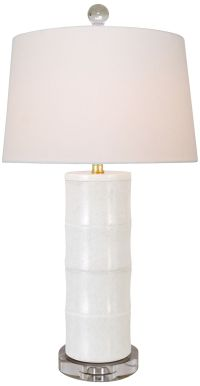 Giant Bamboo White Cylinder Table Lamp - #9K627 | www ...