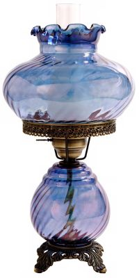 Blue Swirl Optic Shade Night Light Hurricane Table Lamp ...