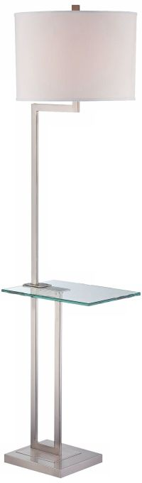 Polished Steel Floor Lamp with Glass Tray Table