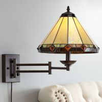 Tiffany Style Glass Panel Plug-In Swing Arm Wall Lamp ...
