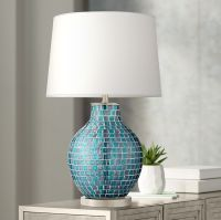 Teal Blue Glass Mosaic Jar Table Lamp - #2T937 | Lamps Plus