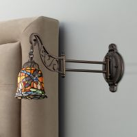 Dragonfly Bronze Tiffany Style Swing Arm Wall Lamp ...
