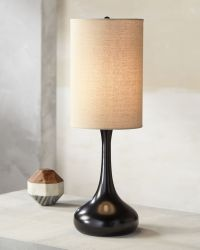 Droplet Table Lamp in Espresso Bronze with Cylinder Shade
