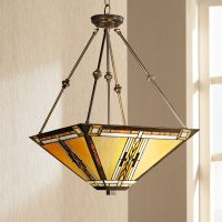Walnut Mission Style Pendant Chandelier - #43240 | Lamps Plus