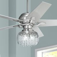 "52"" Casa Optima Brushed Steel and Crystal Ceiling Fan ..."