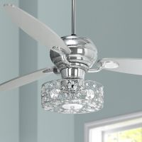 "60"" Spyder Chrome Ceiling Fan with Crystal Discs Light Kit ..."
