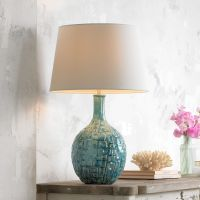 Mid-Century Teal Ceramic Gourd Table Lamp - #T8722 | Lamps ...