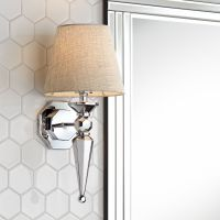 "Textured Fabric Shade 17 1/4"" High Chrome Wall Sconce - # ..."