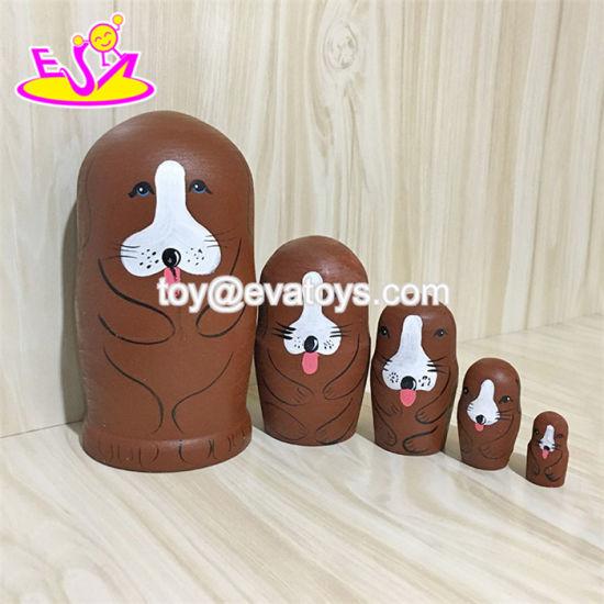 China 2018 Hand Painted Nesting Wooden Matryoshka Dolls with Dog