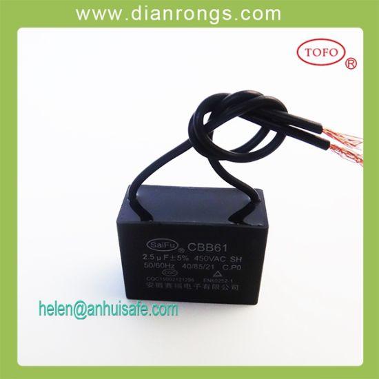 China 25UF 450V Ceiling Fan Wiring Diagram Capacitor Cbb61 - China