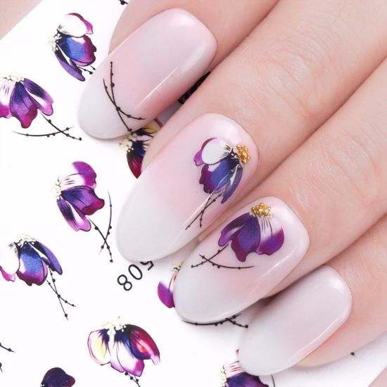 China Slider Nail Sticker Gradient Lotus Decals Purple Flower Vine