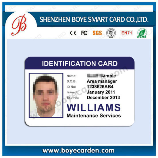China OEM Portrait Printing Sample Photo ID Cards for Employee - sample id cards