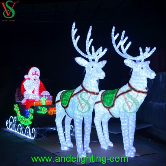 Rendier Slee Verlichting China Deer Carriage Santa Claus Motif Light For Christmas