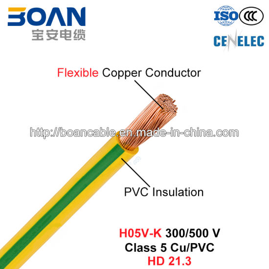 China H05V-K, House Wiring, Electric Wire, 300/500 V, Class 5 Cu/PVC