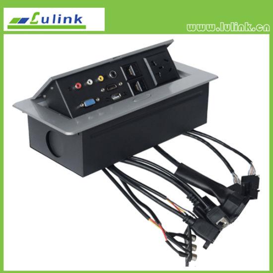 China HDMI RJ45 VGA USB RCA Audio Pop up Media Socket - China