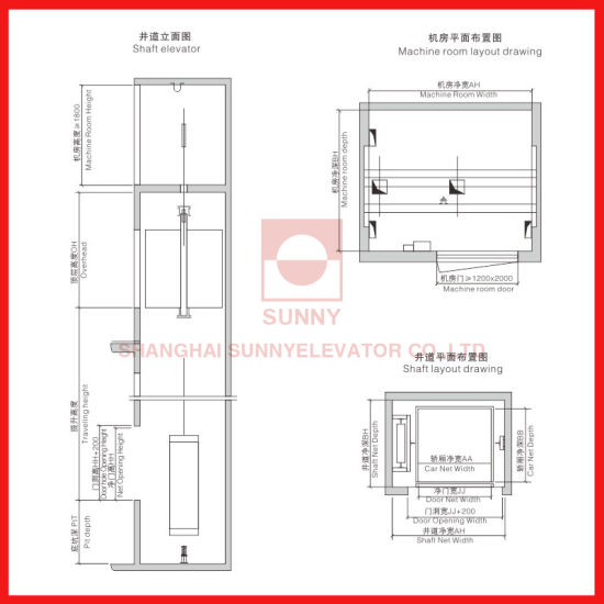 China Load 100~300kg and Speed 04m/S for Dumbwaiter Elevator