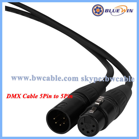 China 5pin DMX Cable Wiring 110 Ohm 2core 1 Pair XLR Male to Female