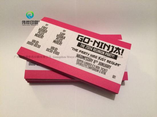China Eco-Friendly Custom Print Boarding Pass Airline Flight Ticket