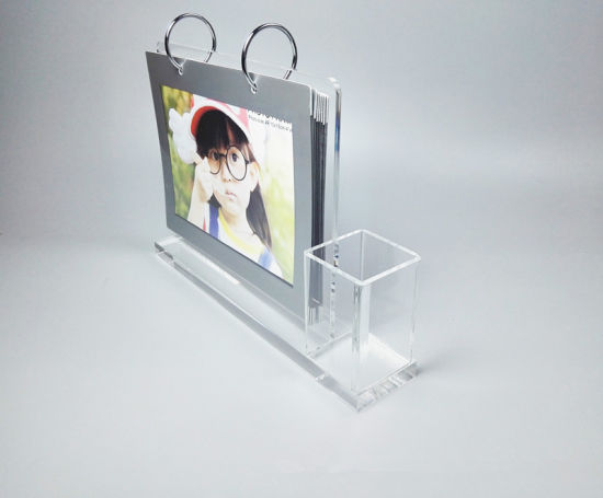 China Acrylic Plastic Desk Calendar Stand With Pen Holder