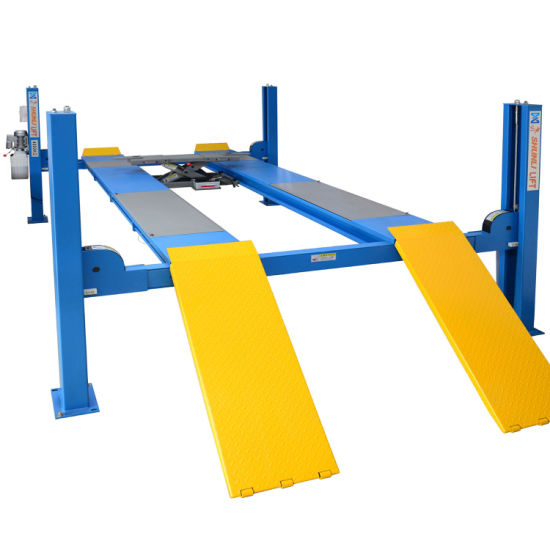 China 4 Tons Hydraulic Manual Release 4 Pole Car Lift for Alignment