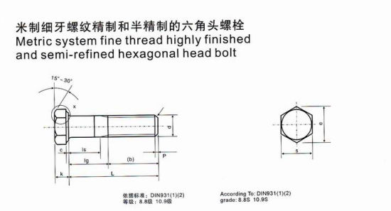 China Metric System Fine Thread Highly Finished and Semi-Refined