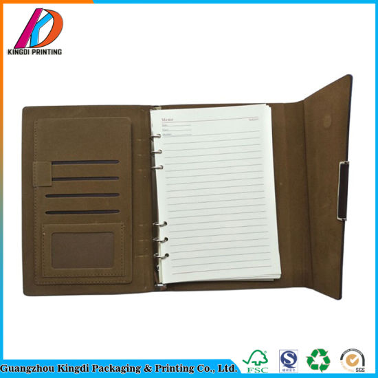 China Embossing Printing Loose-Leaf Binding PU Leather Agenda with