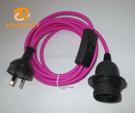 China SAA Power Cord Plug with Switch and Light Socket Fabric Round