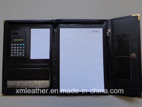 China Leather Trifolder Business Planner Portfolio File Folder