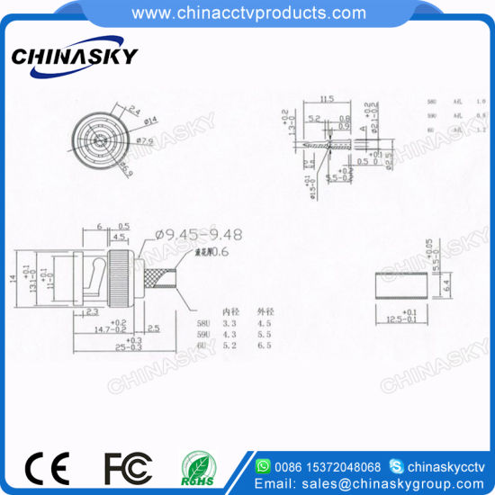 China Rg58/59/6 Coaxial Cable CCTV Male BNC Crimp Connector (CT5045