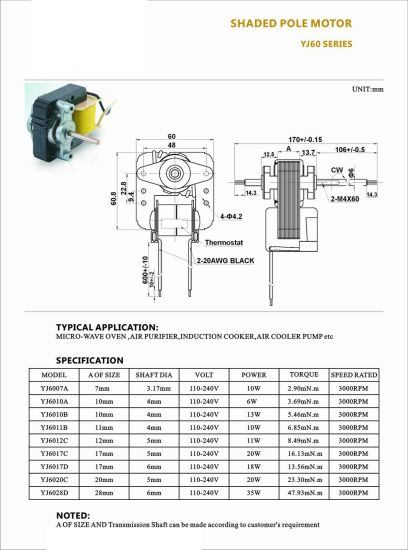 China Full Copper Wire AC 220V Electric Mini Motor for Fan Blower