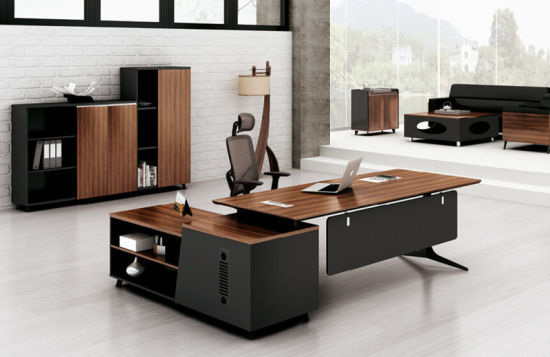 China Walnut Office Furniture MFC Modern Left/Right Return Manager