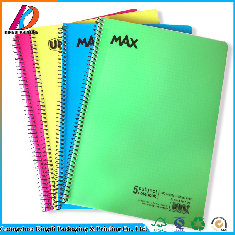 China 200 College Ruled Sheets PVC Hardover Spiral 5 Subject - Print College Ruled Paper