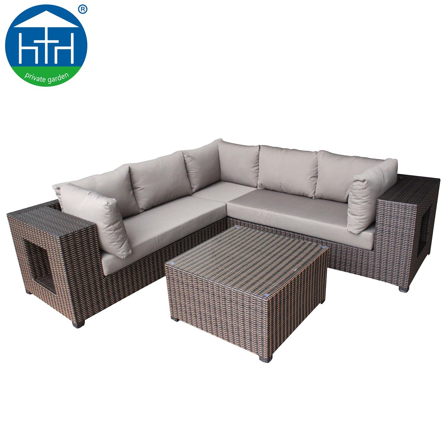 Rattan Sofa Corner Set Hot Item Outdoor Garden Patio Corner Sofa With Cushion Aluminum Rattan Furniture Set