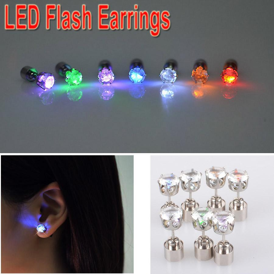 Led Earrings Hot Item Christmas Gift Led Earrings Colorful Led Light Shine Diamond Earring Ear Stud