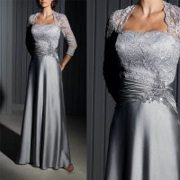 China Gray Lace Satin Mother of The Bride Dress Long ...